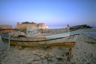 hammamet;plage;pecheur;peche;barque;bateau;