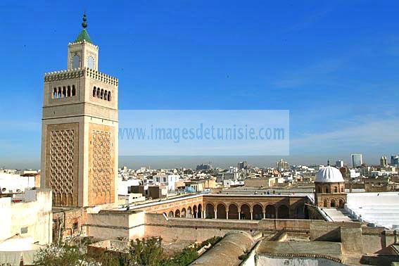 Mosqu�e;architecture;musulmane;Jam�a;el;Zitouna;Minaret;cour;islam;salle;des;pri�res;ville;Tunis;Medina;