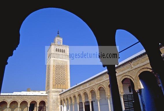 Mosqu�e;architecture;musulmane;Jam�a;el;Zitouna;Minaret;cour;colonne;Tunis;Medina;