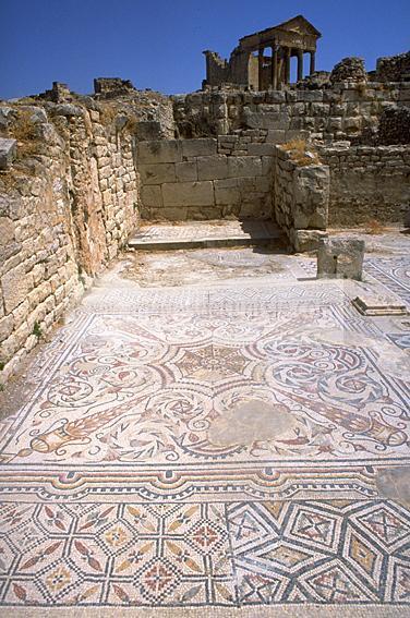 architecture;antique;antiquite;romain;dougga;mosaique;villa;