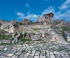 architecture;antique;antiquite;romain;dougga;forum;capitole;rue;