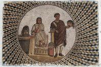 mosaique;antiquite;sousse;theatre;poete;masque